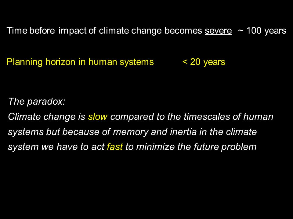 Climate change is slow compared to the timescales of human