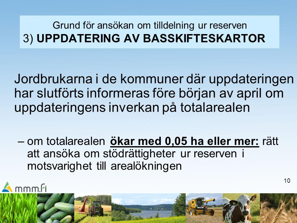 Grund för ansökan om tilldelning ur reserven 3) UPPDATERING AV BASSKIFTESKARTOR