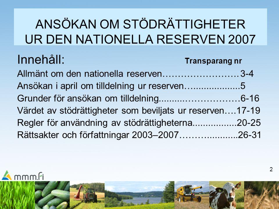 ANSÖKAN OM STÖDRÄTTIGHETER UR DEN NATIONELLA RESERVEN 2007