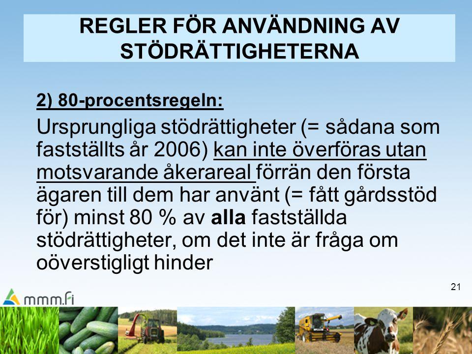 REGLER FÖR ANVÄNDNING AV STÖDRÄTTIGHETERNA