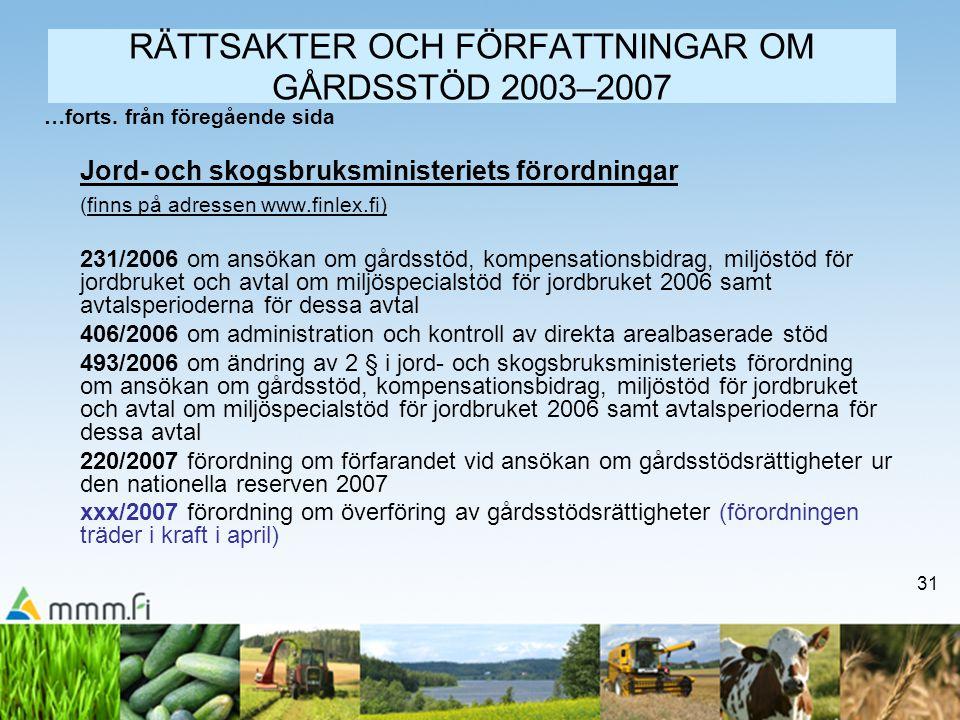 RÄTTSAKTER OCH FÖRFATTNINGAR OM GÅRDSSTÖD 2003–2007