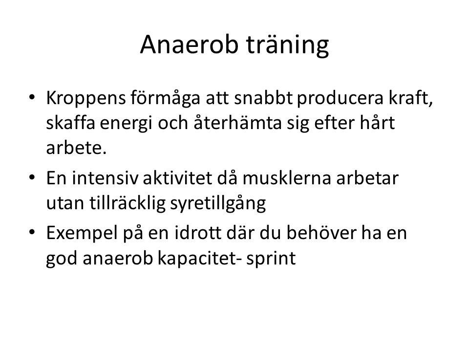 Anaerob träning Kroppens förmåga att snabbt producera kraft, skaffa energi och återhämta sig efter hårt arbete.