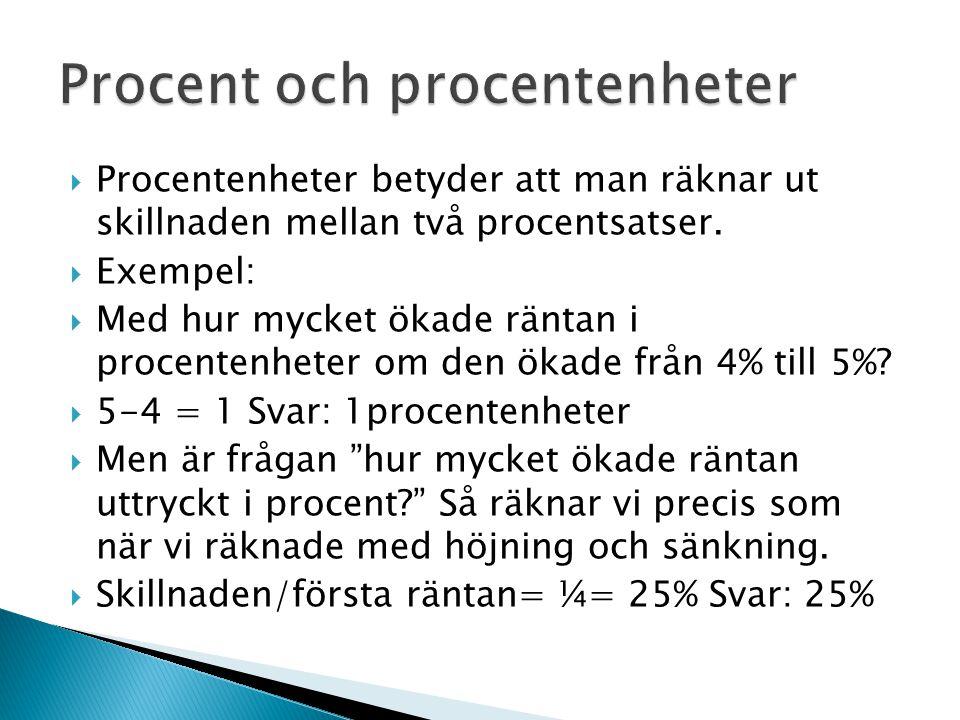 Procent och procentenheter