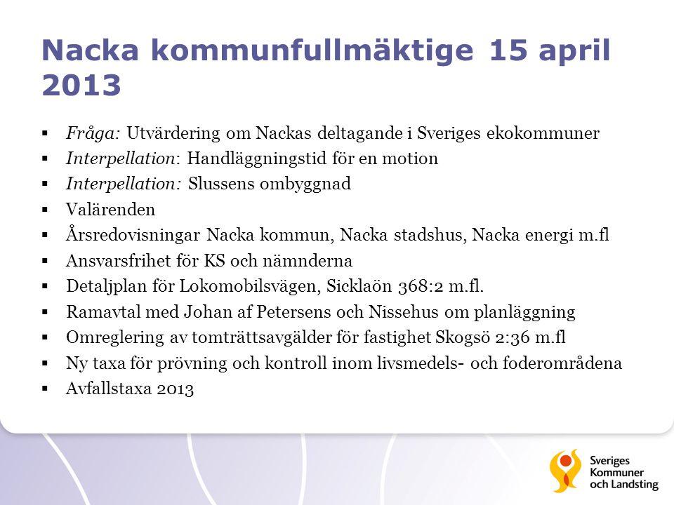 Nacka kommunfullmäktige 15 april 2013