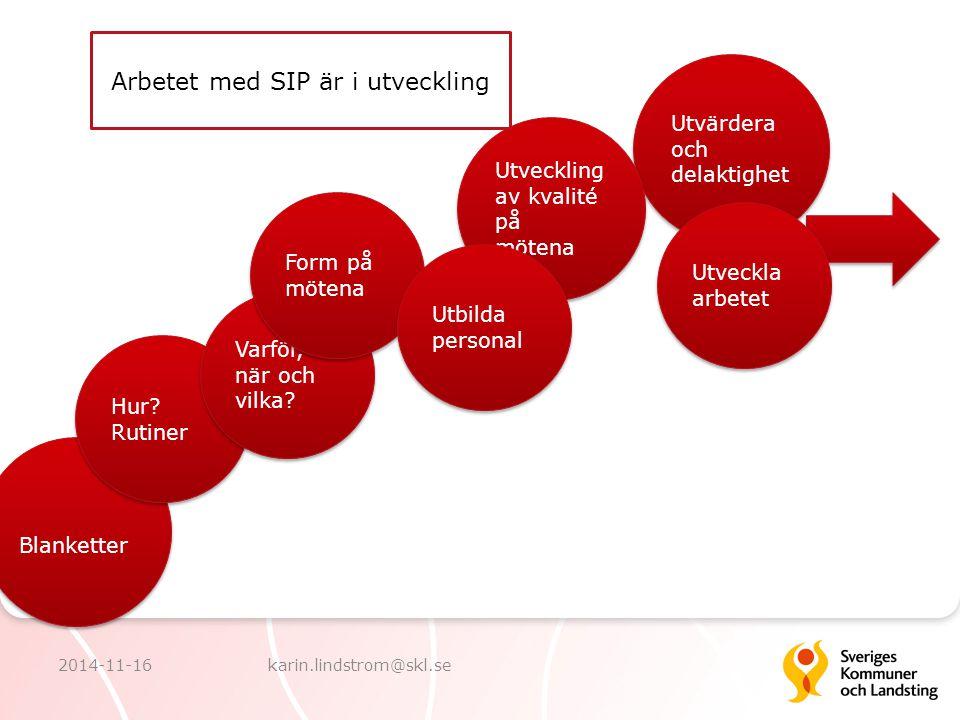 Arbetet med SIP är i utveckling