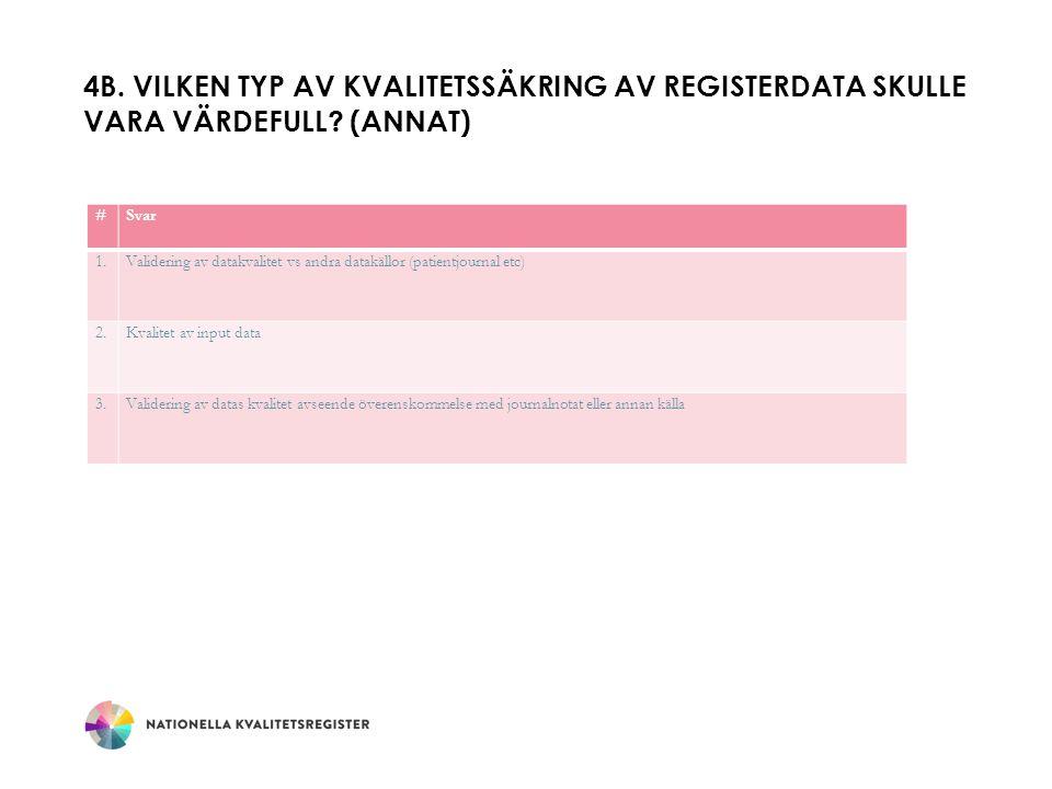 4b. Vilken typ av kvalitetssäkring av registerdata skulle vara värdefull (Annat)