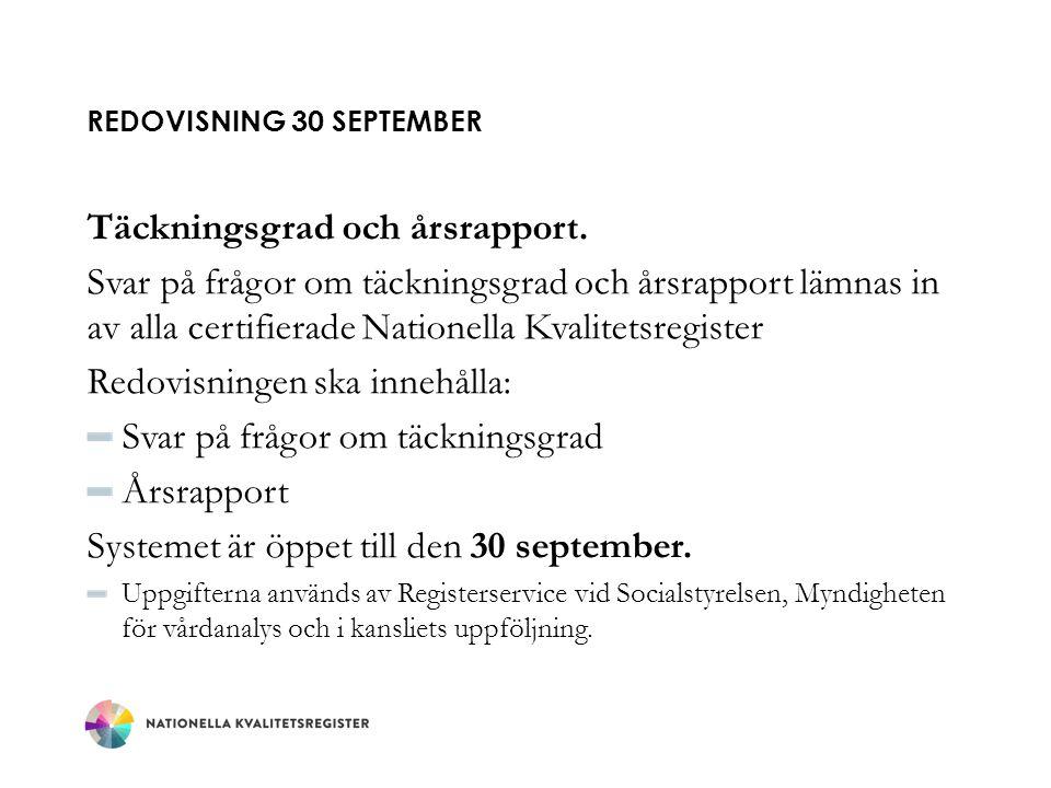 Redovisning 30 september