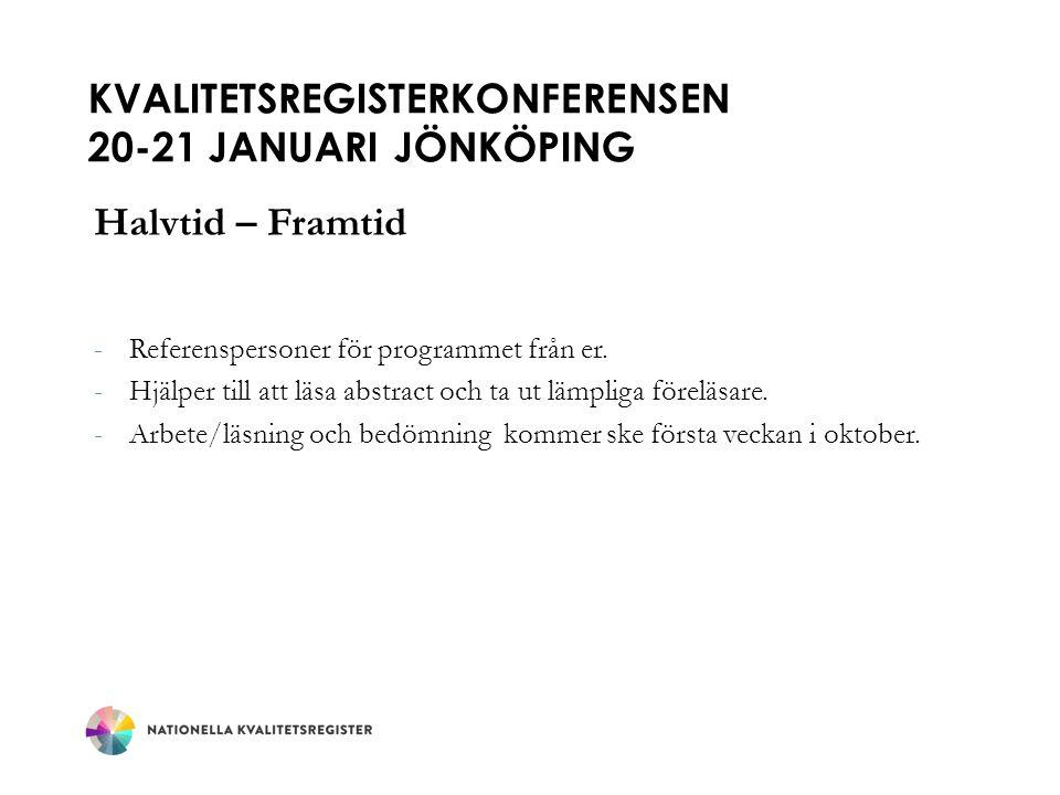 Kvalitetsregisterkonferensen 20-21 januari jönköping
