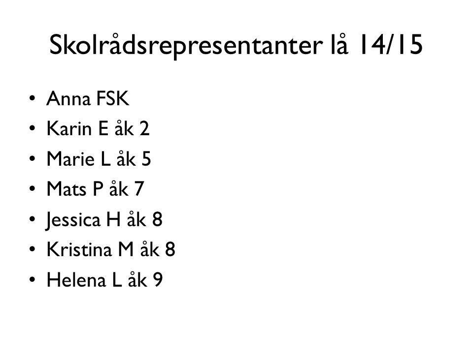 Skolrådsrepresentanter lå 14/15