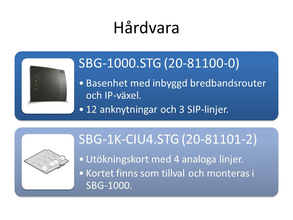 Hårdvara SBG-1000.STG (20-81100-0) SBG-1K-CIU4.STG (20-81101-2)