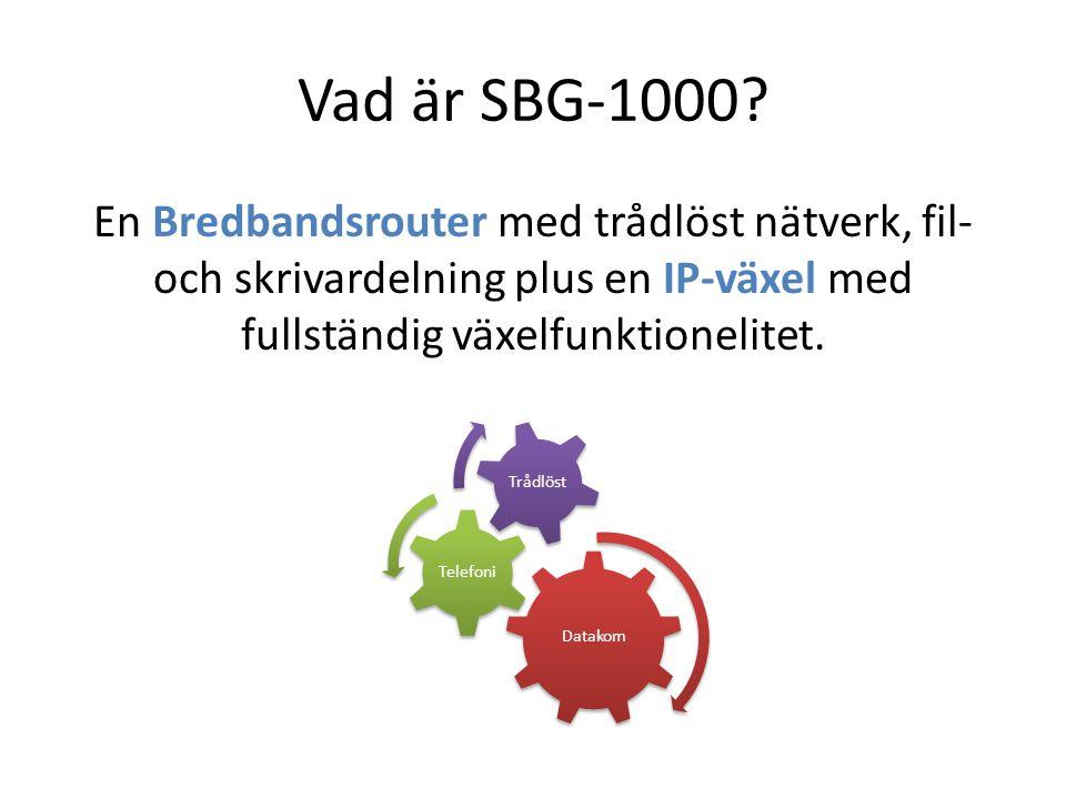 Vad är SBG-1000 En Bredbandsrouter med trådlöst nätverk, fil- och skrivardelning plus en IP-växel med fullständig växelfunktionelitet.