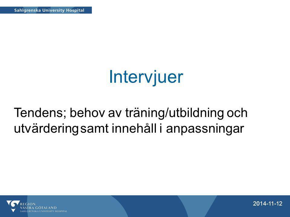 Intervjuer Tendens; behov av träning/utbildning och utvärdering samt innehåll i anpassningar. Pågår: