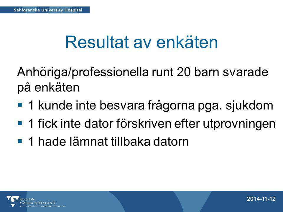 Resultat av enkäten Anhöriga/professionella runt 20 barn svarade på enkäten. 1 kunde inte besvara frågorna pga. sjukdom.