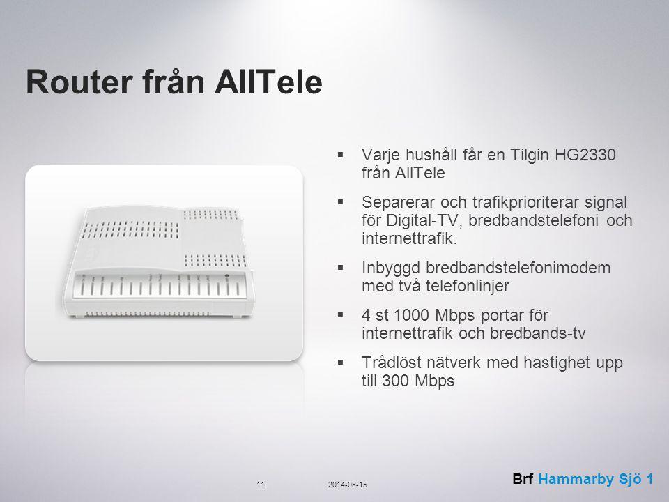 Router från AllTele Varje hushåll får en Tilgin HG2330 från AllTele