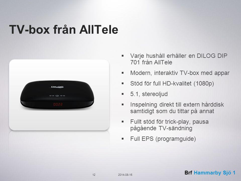 TV-box från AllTele Varje hushåll erhåller en DILOG DIP 701 från AllTele. Modern, interaktiv TV-box med appar.