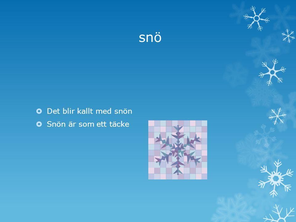 snö Det blir kallt med snön Snön är som ett täcke