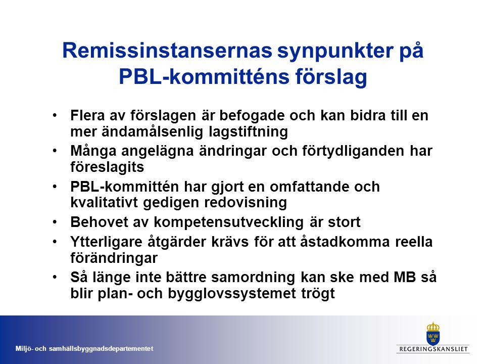Remissinstansernas synpunkter på PBL-kommitténs förslag