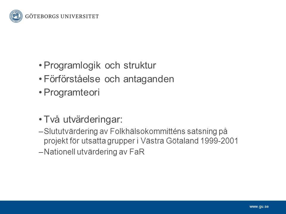 Programlogik och struktur Förförståelse och antaganden Programteori