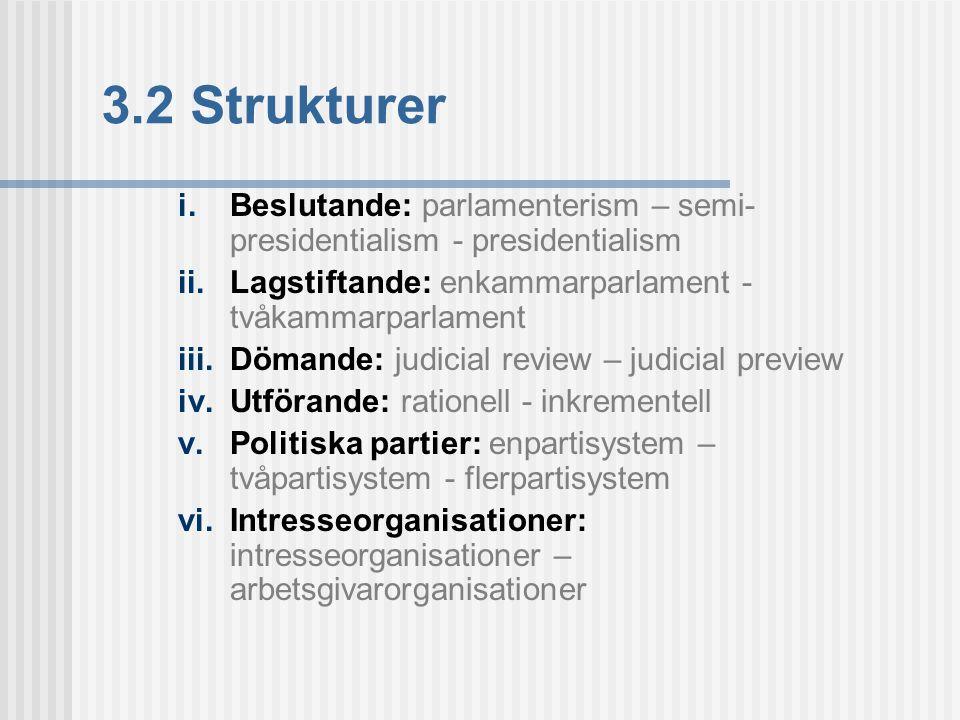 3.2 Strukturer Beslutande: parlamenterism – semi-presidentialism - presidentialism. Lagstiftande: enkammarparlament - tvåkammarparlament.