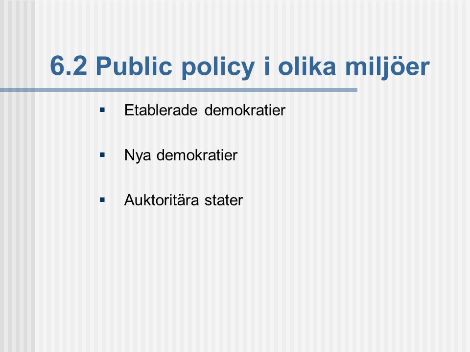 6.2 Public policy i olika miljöer