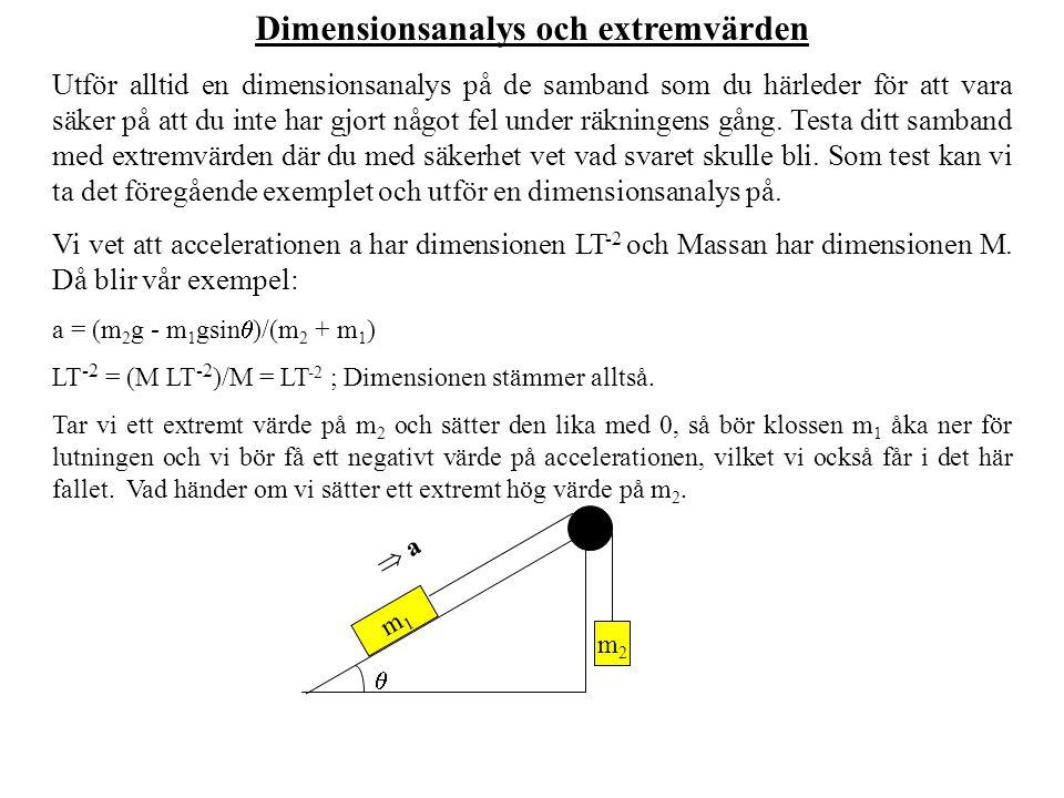 Dimensionsanalys och extremvärden