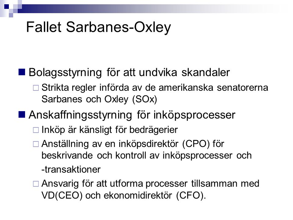 Fallet Sarbanes-Oxley