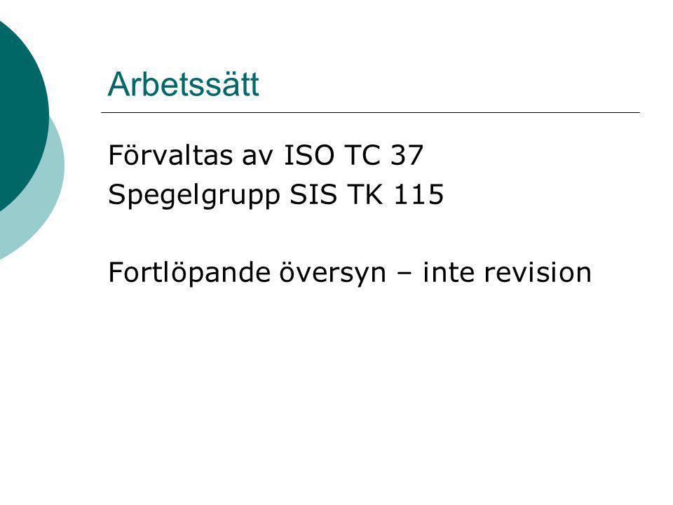 Arbetssätt Förvaltas av ISO TC 37 Spegelgrupp SIS TK 115
