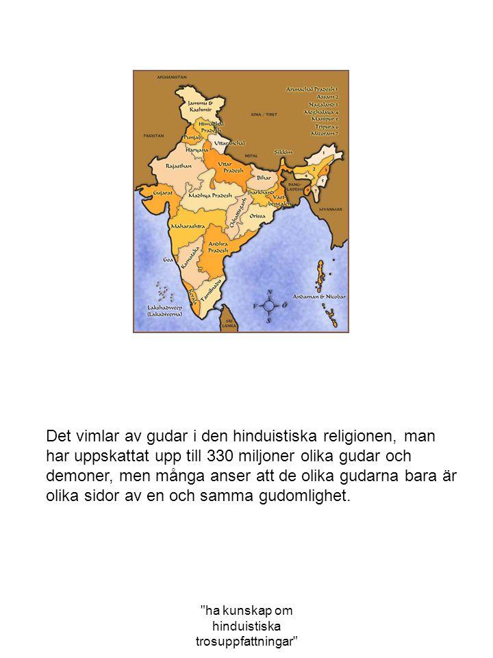 ha kunskap om hinduistiska trosuppfattningar