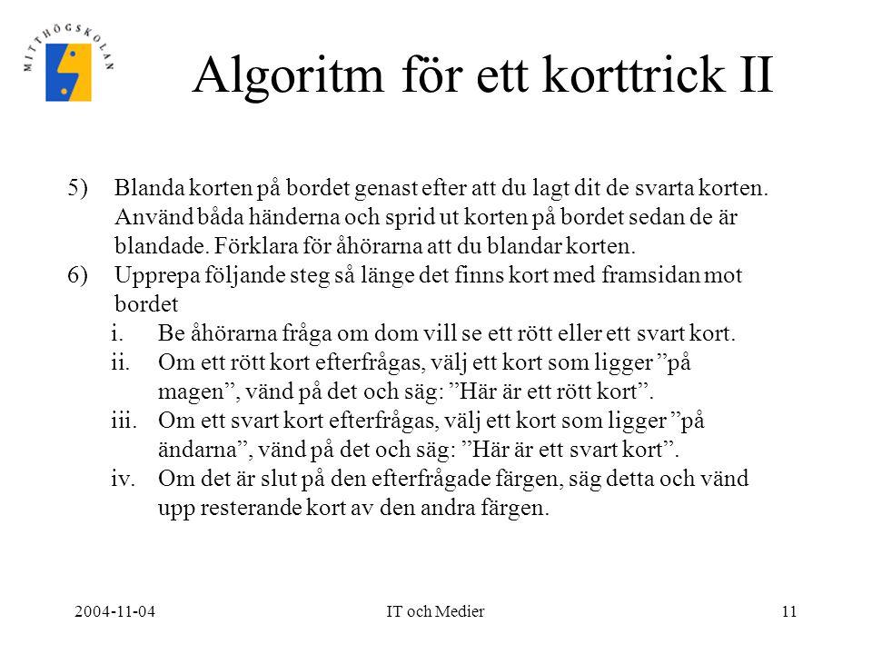 Algoritm för ett korttrick II