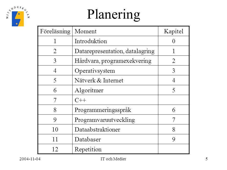 Planering Föreläsning Moment Kapitel 1 Introduktion 2