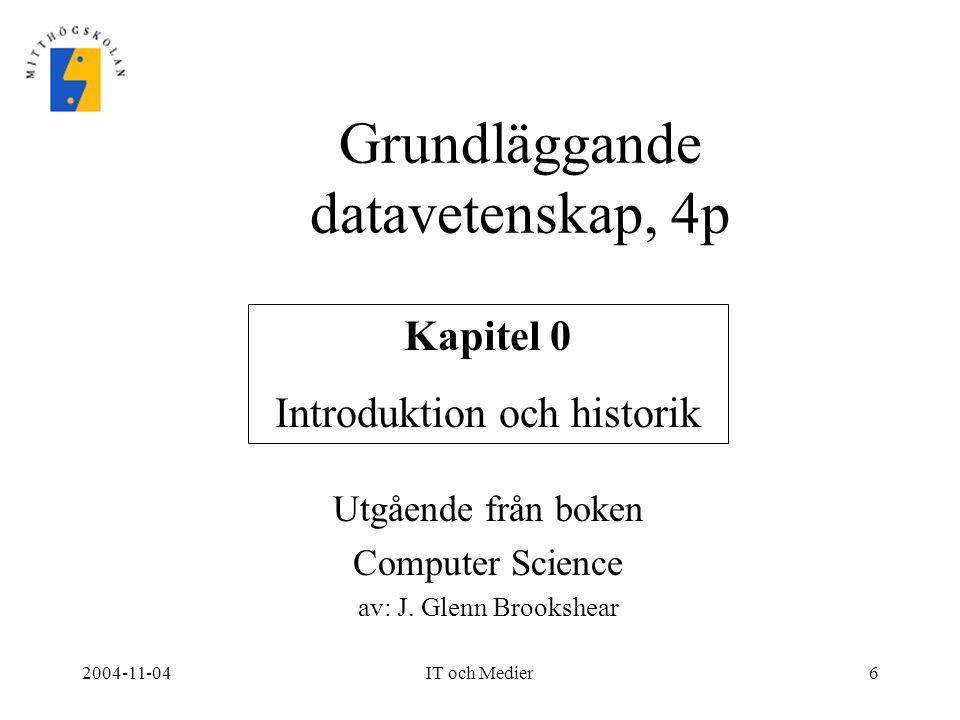 Grundläggande datavetenskap, 4p