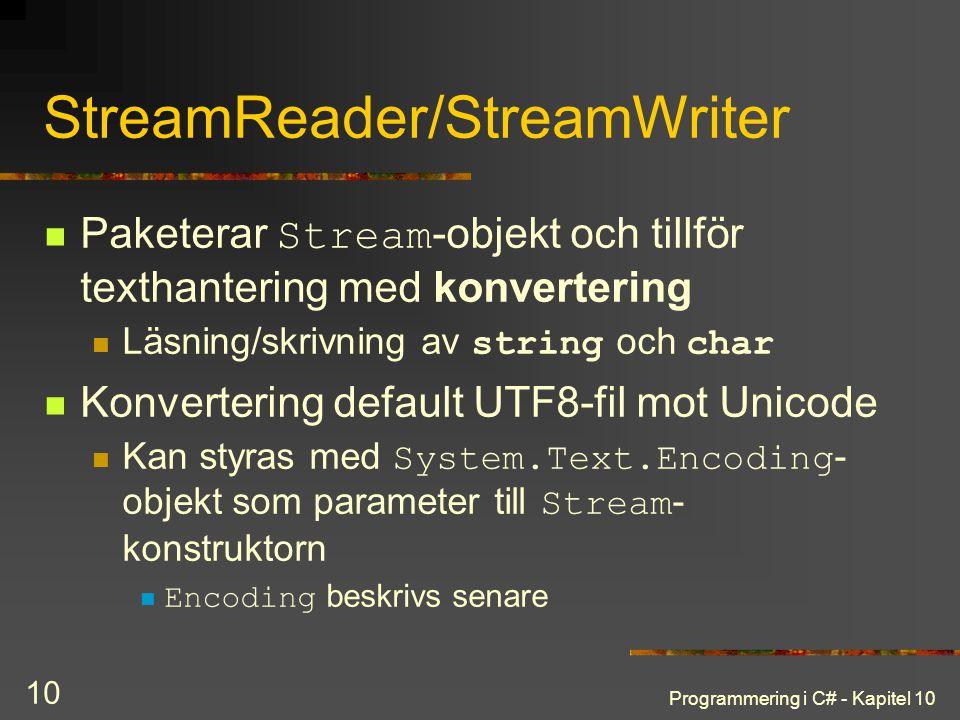 StreamReader/StreamWriter