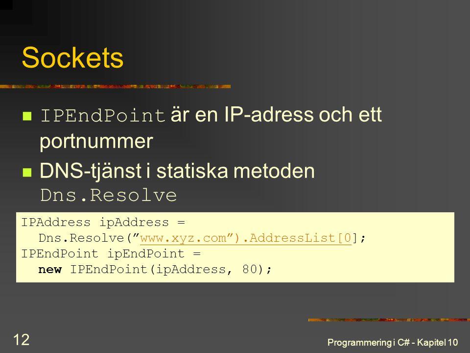 Sockets IPEndPoint är en IP-adress och ett portnummer