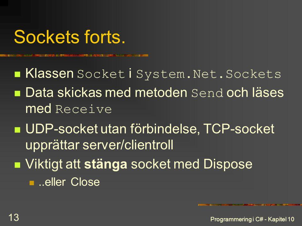 Sockets forts. Klassen Socket i System.Net.Sockets