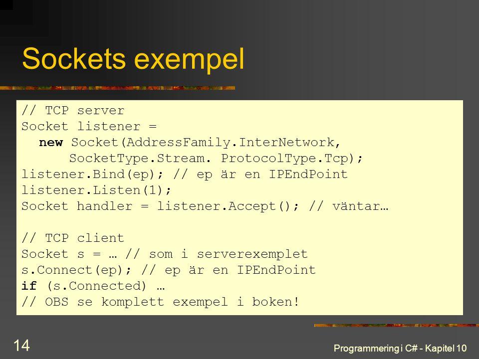 Sockets exempel // TCP server Socket listener =