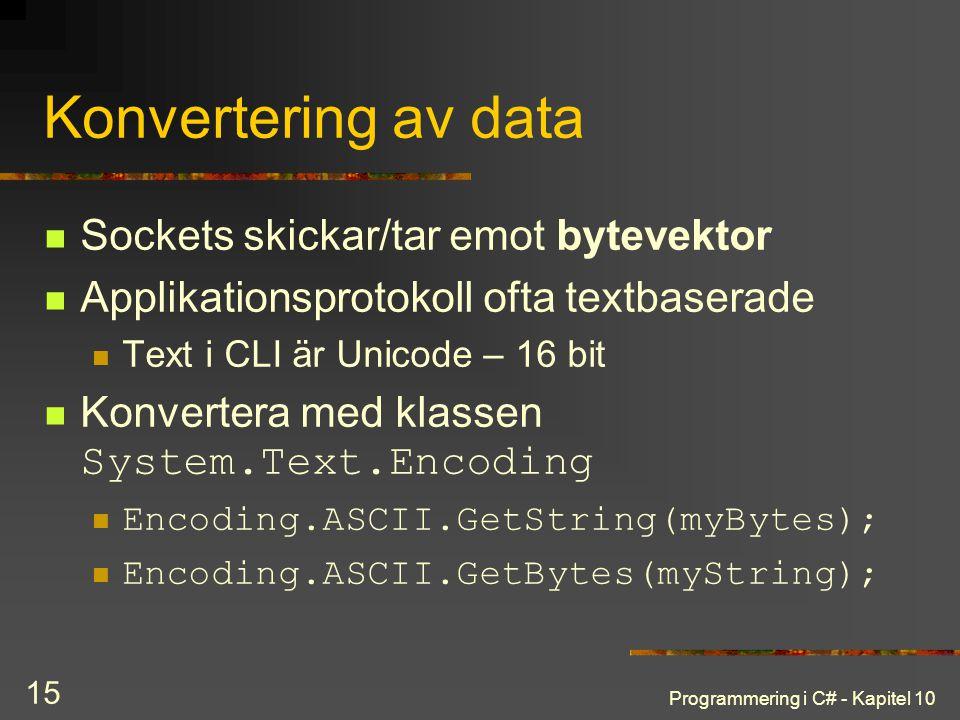 Konvertering av data Sockets skickar/tar emot bytevektor