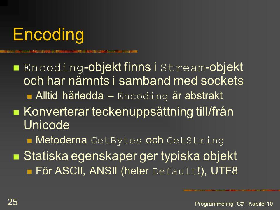 Encoding Encoding-objekt finns i Stream-objekt och har nämnts i samband med sockets. Alltid härledda – Encoding är abstrakt.