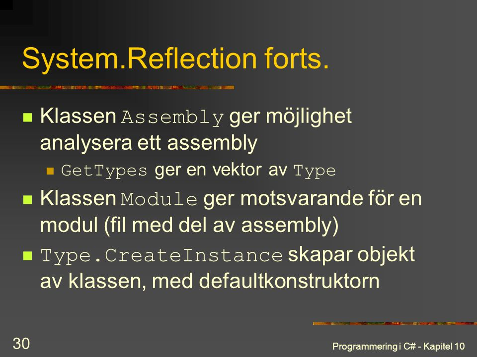 System.Reflection forts.
