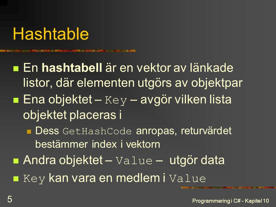 Hashtable En hashtabell är en vektor av länkade listor, där elementen utgörs av objektpar.