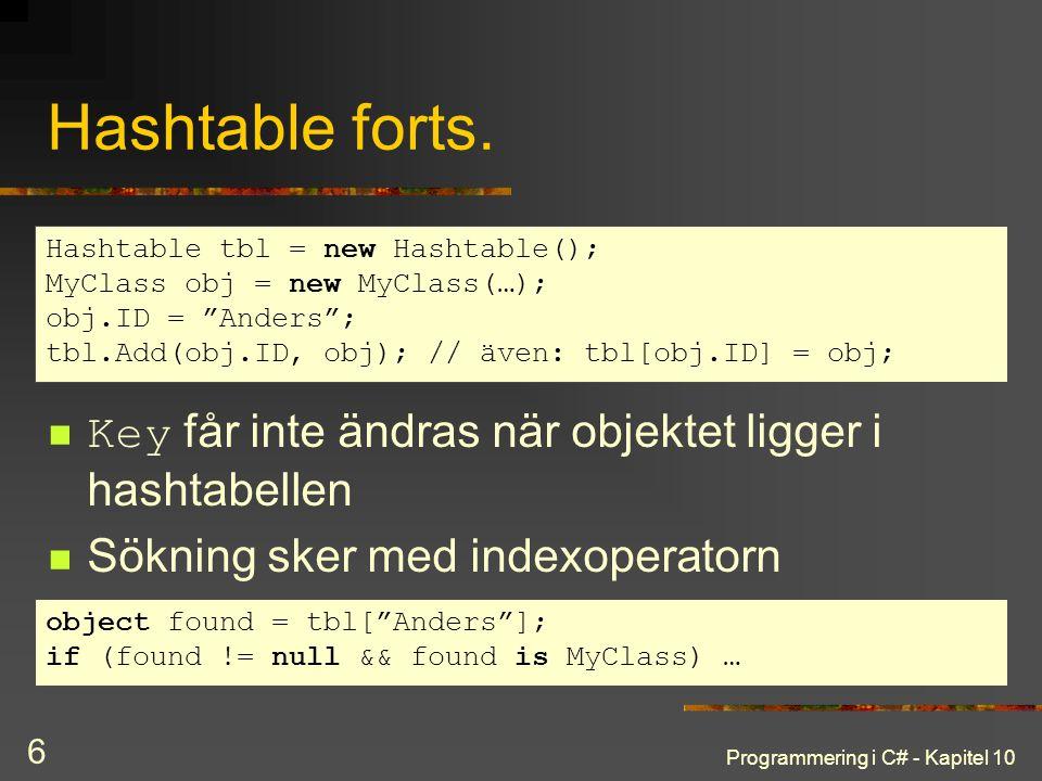 Hashtable forts. Hashtable tbl = new Hashtable(); MyClass obj = new MyClass(…); obj.ID = Anders ;