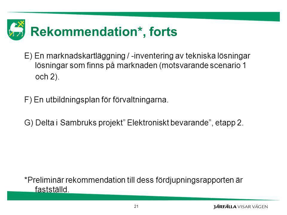 Rekommendation*, forts