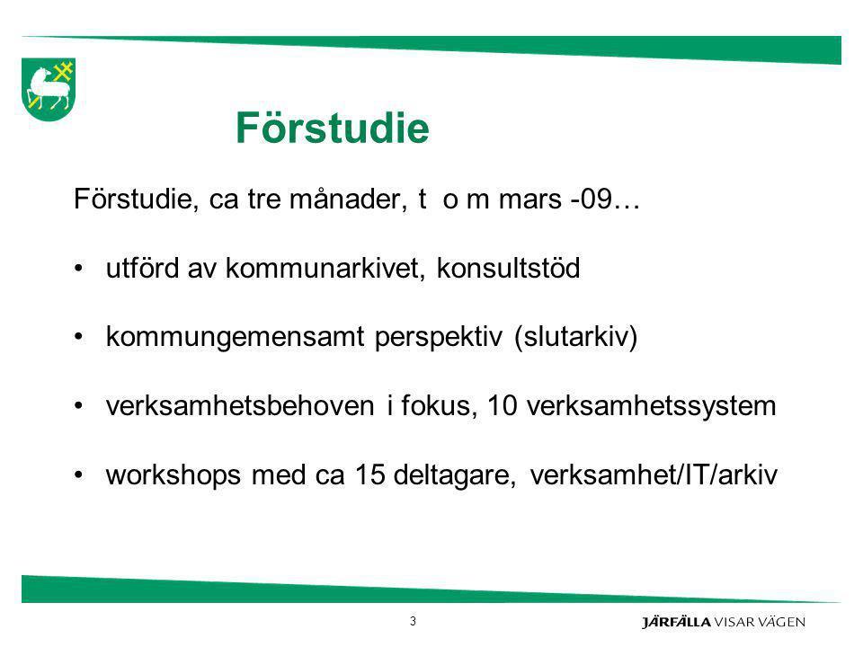 Förstudie Förstudie, ca tre månader, t o m mars -09…