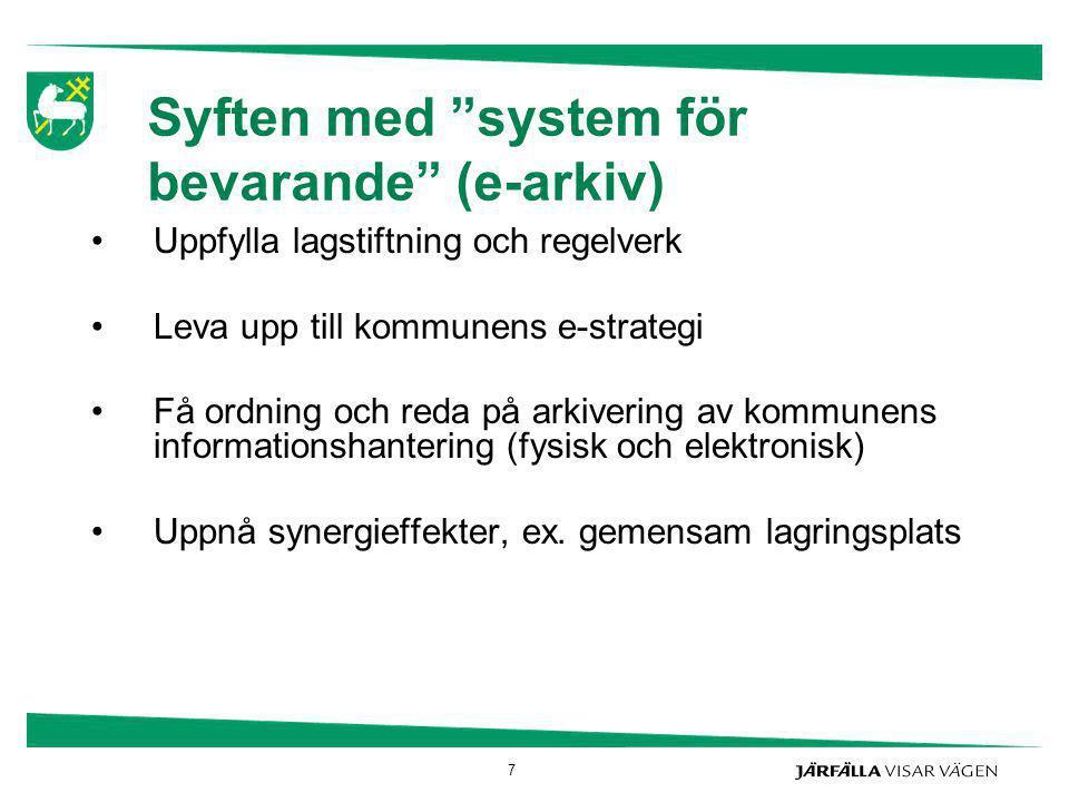 Syften med system för bevarande (e-arkiv)
