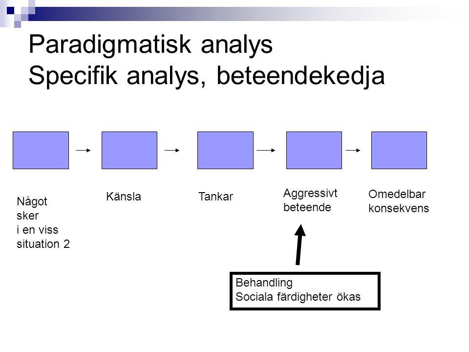 Paradigmatisk analys Specifik analys, beteendekedja