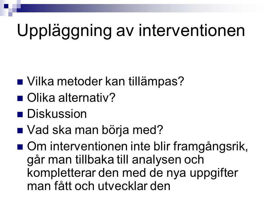 Uppläggning av interventionen