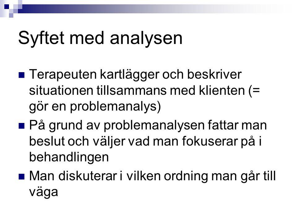 Syftet med analysen Terapeuten kartlägger och beskriver situationen tillsammans med klienten (= gör en problemanalys)