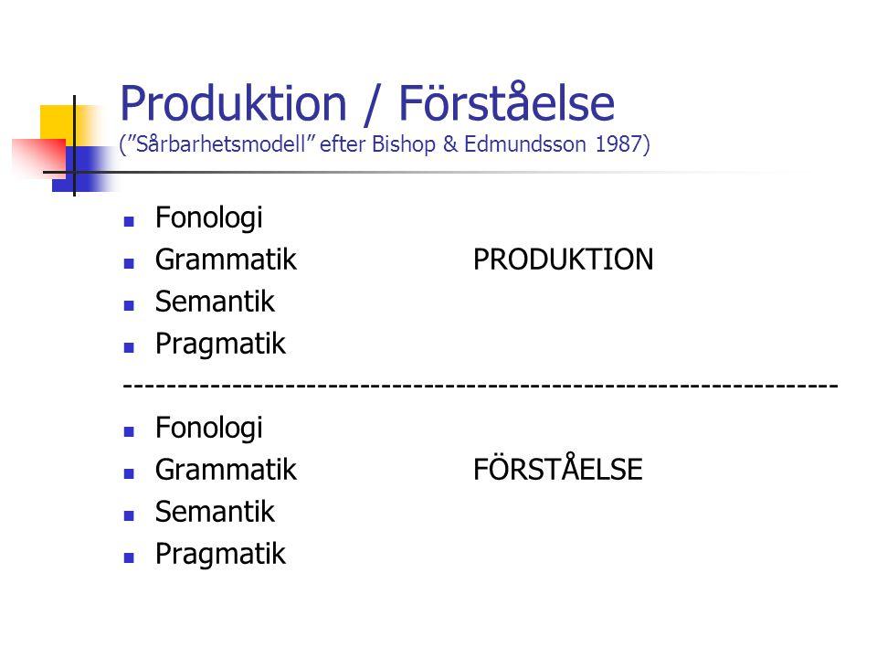 Produktion / Förståelse ( Sårbarhetsmodell efter Bishop & Edmundsson 1987)