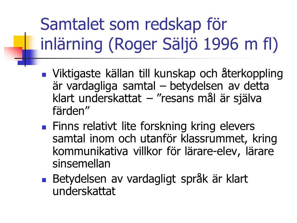 Samtalet som redskap för inlärning (Roger Säljö 1996 m fl)