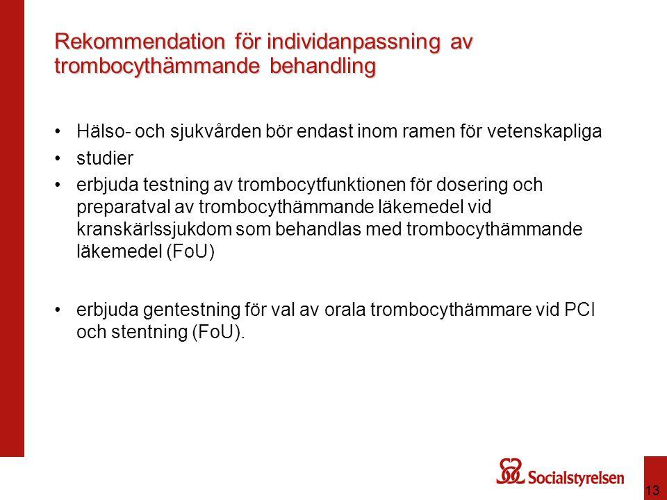Rekommendation för individanpassning av trombocythämmande behandling