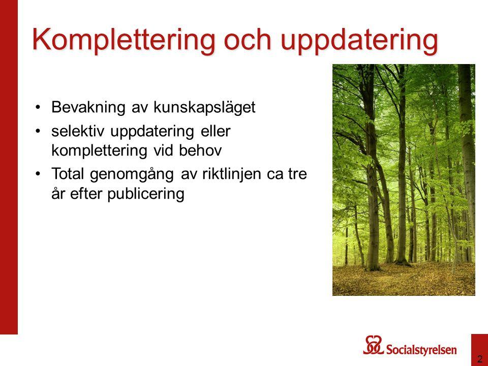 Komplettering och uppdatering